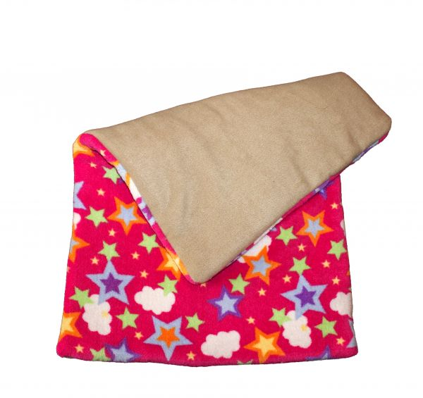 Fleece blanket stars and clouds pink and beige