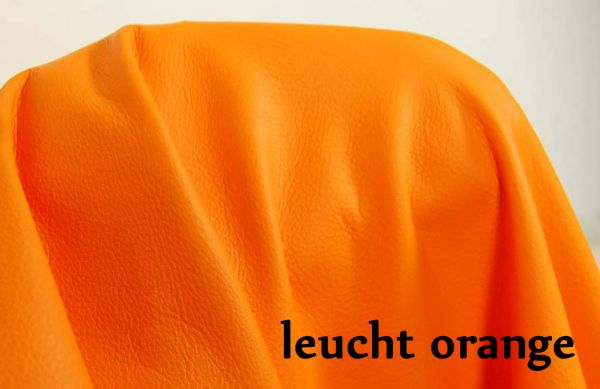 Rindsnappaleder leucht orange