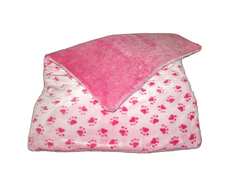 Fleece blanket paws light pink
