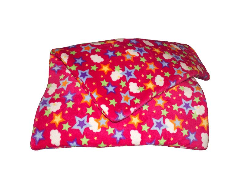 Fleece blanket stars and clouds pink